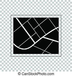 地図, illustration., 印。, バックグラウンド。, 黒, 透明, アイコン