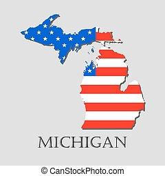 地図, illustration., 州, ミシガン州, -, 旗, アメリカ人, ベクトル