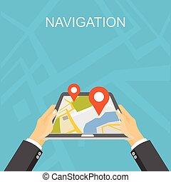 地図, illustration., technology., concept., 見つけること, 位置, マーカー, ナビゲーション, gps