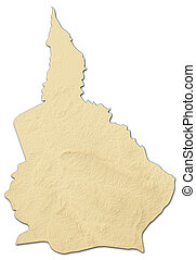 地図, -, nana-grebizi, (central, republic), 救助, 3d-rendering, ...