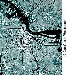 地図, netherlands, アムステルダム, 都市