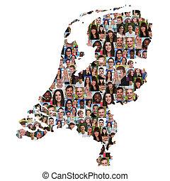 地図, netherlands, グループ, 人々, multicultural, 若い, 統合, 多様性
