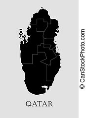 地図, qatar, -, イラスト, ベクトル, 黒