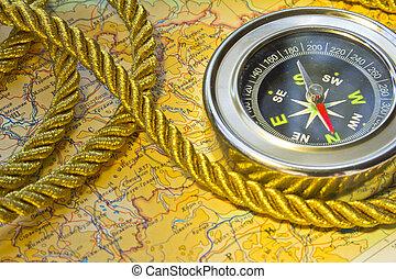 地図, roap, 上に, コンパス