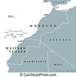 地図, sahara, 政治的である, 西部, モロッコ