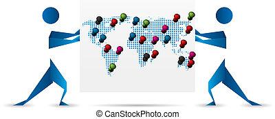 地図, silhoettes, 押す, ボール紙