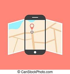 地図, smartphone, 隔離された, 背景, 開いた, 赤