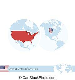 地図, usa., アメリカ, 地球, 地域である, 旗, 世界