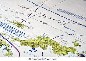 地图, 在中, the, 处女岛