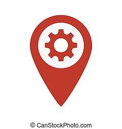 地图, 指针, 齿轮, 图标