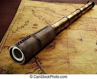 地图, 特写镜头, 老, 小型望远镜