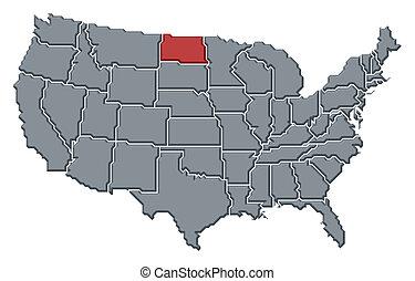 地图, 联合起来, 北方, 国家, 突出, 达科他