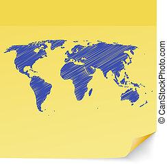 地图, 黄色粘性的笔记, 乱涂, 画, 世界