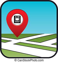 地图, atm., 街道, 指针, 图标
