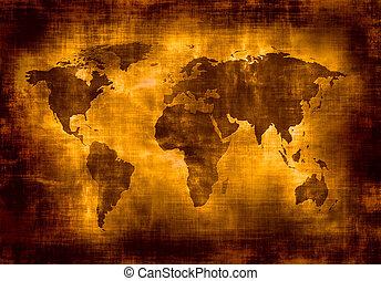 地图, grunge, 世界