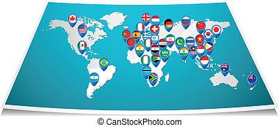 地圖, 世界, 別針