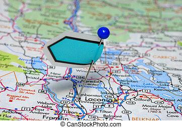 地圖, 以及, 別針