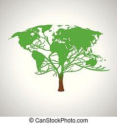 地圖, 全球, 矢量, 世界, 樹