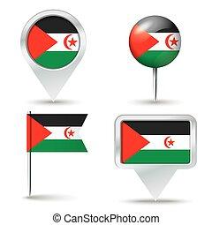 地圖, 別針, 由于, 旗