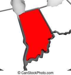 地圖, 團結, 摘要, 國家, 狀態, 印地安納, 美國, 紅色, 3d