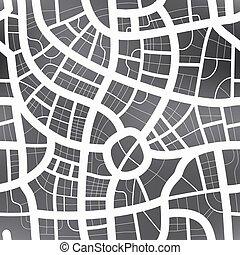 地圖, 城市, 圖案, seamless, 黑色, 白色