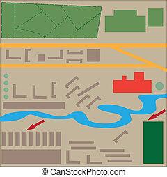地圖, 城市, 設計, 摘要