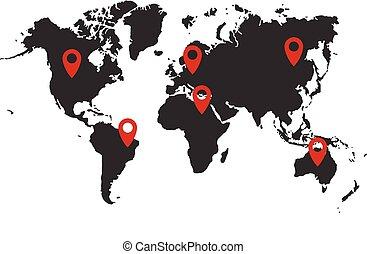 地圖, 插圖, 矢量, 位置, 世界, pins.