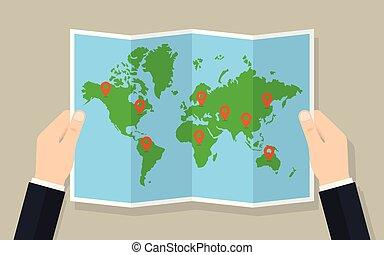 地圖, 摺疊, 標誌, 紙, 手, 世界, 握住
