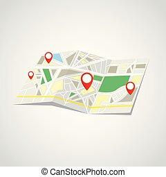 地圖, 摺疊, 標誌, 點