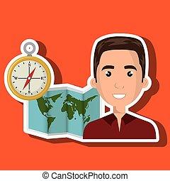 地圖, 旅行, 全球, 人, 世界