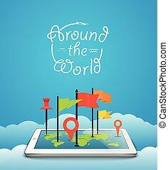 地圖, 概念, 大約, 片劑, 現代, 電腦, 地球, 世界, pins.