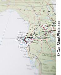 地圖, ......的, tampa, 在, 佛羅里達