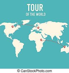 地圖, 目的地, 世界, 白色紅, pins.