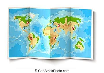 地圖, 目的地, 摺疊, 矢量, 別針, 世界, 指針