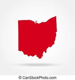 地圖, 美國, 狀態, 俄亥俄