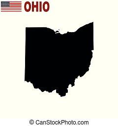 地圖, 美國, 背景。, 狀態, 俄亥俄, 白色
