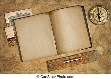 地圖, 老, 在上方, 珍寶, 日記, 指南針, 打開