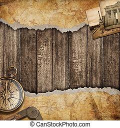 地圖, 老, 背景, concept., 冒險, compass., 或者, 發現
