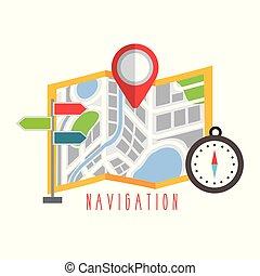 地圖, 點, 摺疊, 標誌, 設計, 航行, 紅色