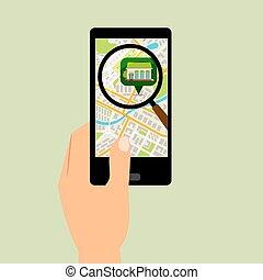 地圖, smartphone, 位置, 超級市場
