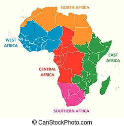 地域, 地図, アフリカ, 政治的である