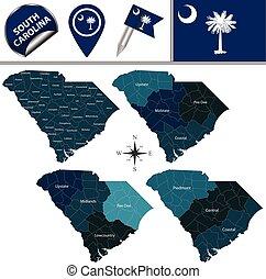地域, 地図, サウスカロライナ