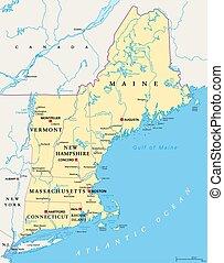 地域, 地図, 新しい, 政治的である, イギリス\, 米国, アメリカ
