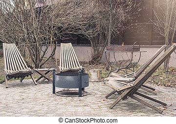 地域, 木製である, 季節, 秋, 肘掛け椅子, バーベキュー, 暖炉