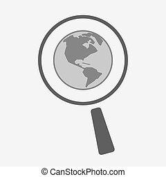 地域, 隔離された, magnifier, 世界, アメリカ, 地球, アイコン