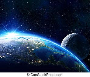 地平線, アメリカ, 地球, 月