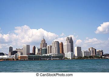 地平線, ......的, 市區, 底特律, 從, 溫莎, 安大略