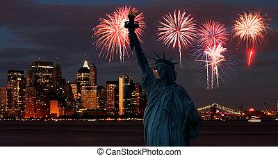 地平線, 雕像, 自由, 曼哈頓