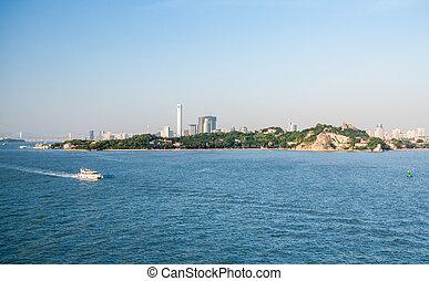 地平线, 岛, gulangyu, 建筑物, xiamen, 现代, 前景