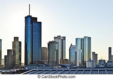 地平线, frankfurt, 摩天楼, 察看